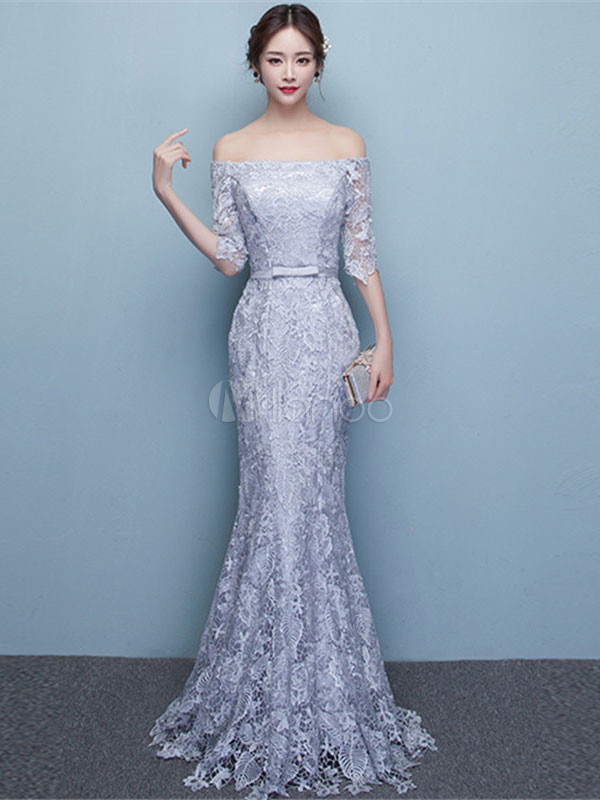 5ee7298d70ff0 Mermaid Evening Dress Lace Off The Shoulder Party Dress Silver Half Sleeve  Floor Length Occasion Dress ...