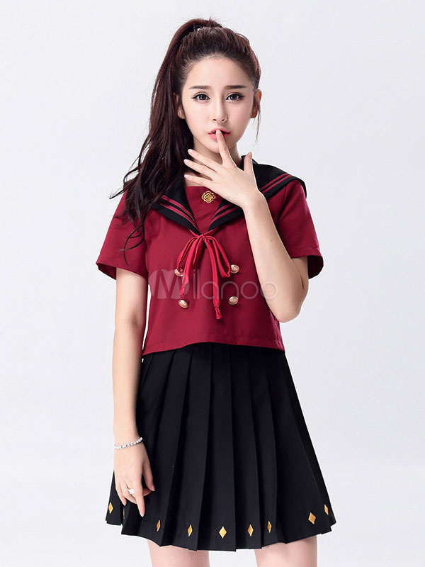 Buy Japanese Anime Cosplay School Girl Uniform Red And Black Uniform Halloween for $48.75 in Milanoo store