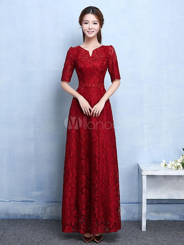 Lace Mother Dress Burgundy Evening Dress Notched Neckline Beading Half Sleeve A Line Ankle Length Wedding Guest Dresses