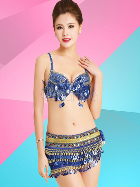 Buy Sexy Jazz Dance Costume Blue Sequined Bra With Mini Skirt Dance Costumes for $42.29 in Milanoo store