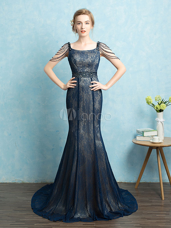 Mermaid Evening Dress Lace Chain Party Dress Dark Navy U Neck Beading Occasion Dress With Train