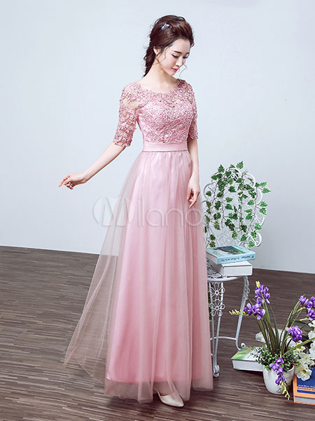 Tulle Prom Dress Cameo Pink Evening Dress Lace Half Sleeve A Line Ankle Length Party Dress