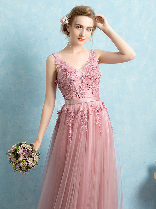 Tulle Evening Dress Backless Prom Dress V Neck Lace Applique Beading ...