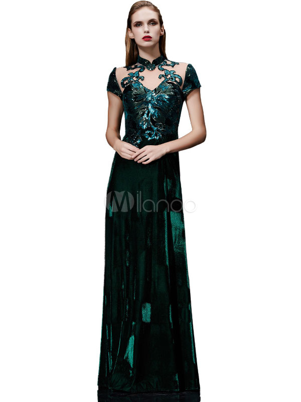 Buy Velvet Evening Dress Illusion Sequin Mother's Dress Dark Green Stand Collar Short Sleeve A Line Floor Length Wedding Guest Dresses for $188.99 in Milanoo store