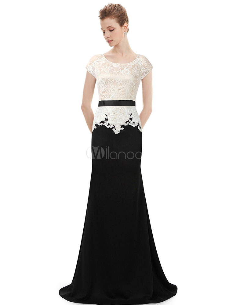 Buy Mermaid Evening Dress Lace Mother Of The Bride Dress Two Tone Jewel Short Sleeve Floor Length Wedding Guest Dresses With Sash for $123.19 in Milanoo store