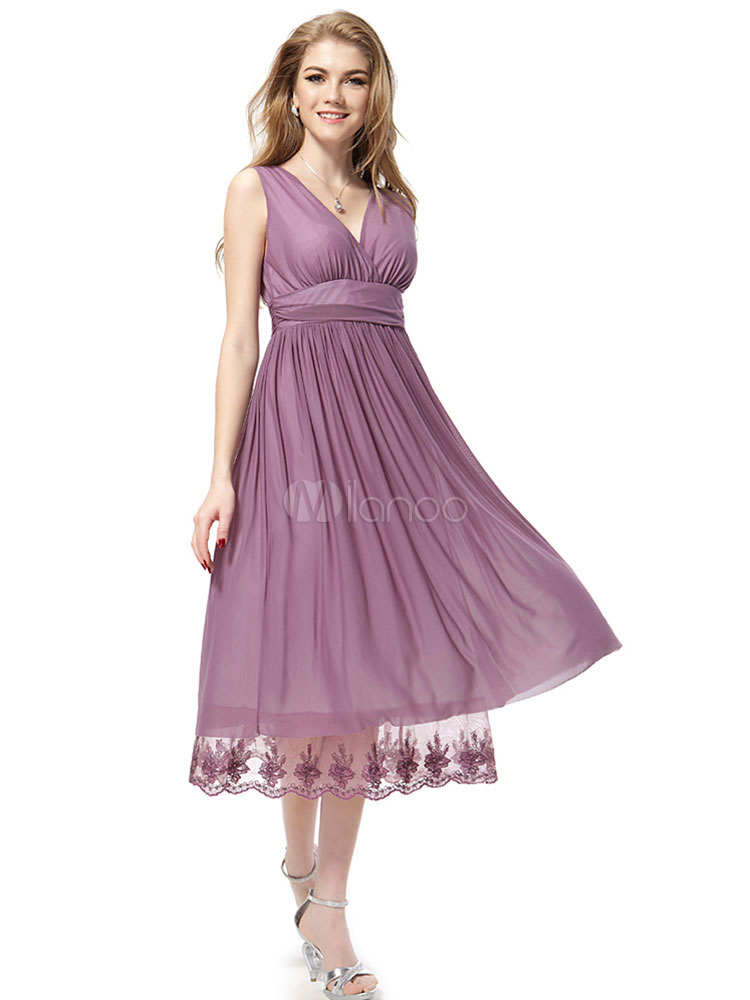 Chiffon Cocktail Dress Cameo Pink V Neck Party Dress Sleeveless Pleated A Line Tea Length Occasion Dress