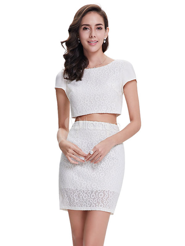 Buy Lace Cocktail Dress 2 Piece Mini Prom Dress White Round Neck Short Sleeve Sheath Party Dress for $84.99 in Milanoo store