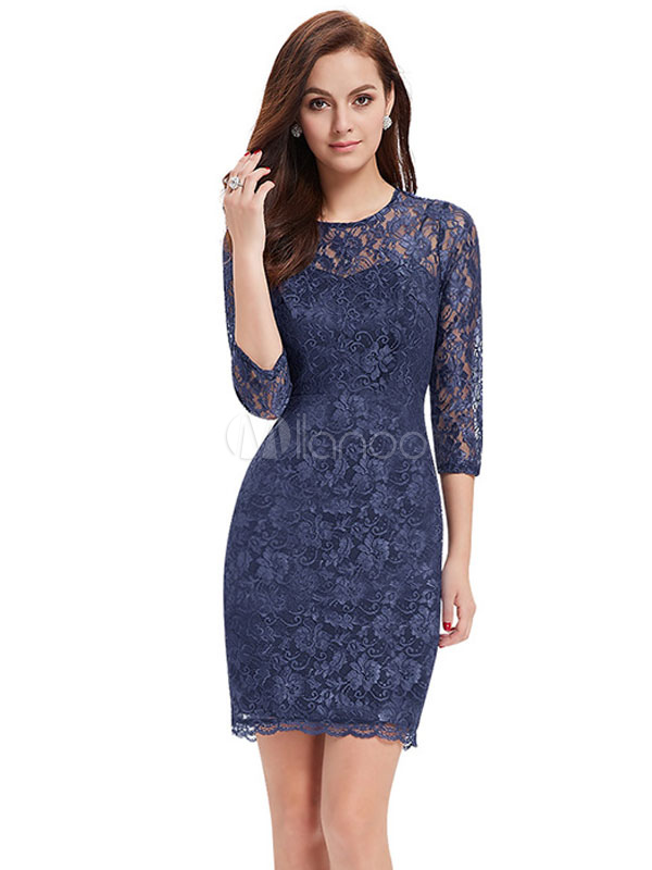 Buy Lace Mother Of The Bride Dress Illusion Sheath Cocktail Dress Dark Navy 3/4 Length Sleeve Short Wedding Guest Dresses for $83.59 in Milanoo store