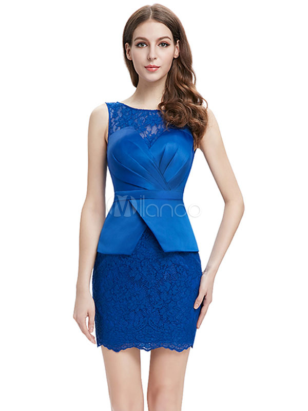 Buy Royal Blue Cocktail Dress Satin Peplum Mother Of The Bride Dress Jewel Sleeveless Pleated Sheath Mini Wedding Guest Dresses for $96.79 in Milanoo store