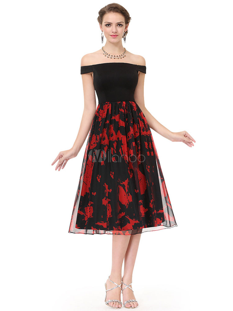 Buy Chiffon Graduation Dress Off The Shoulder Cocktail Dress Black Printed Pleated A Line Tea Length Party Dress for $96.79 in Milanoo store