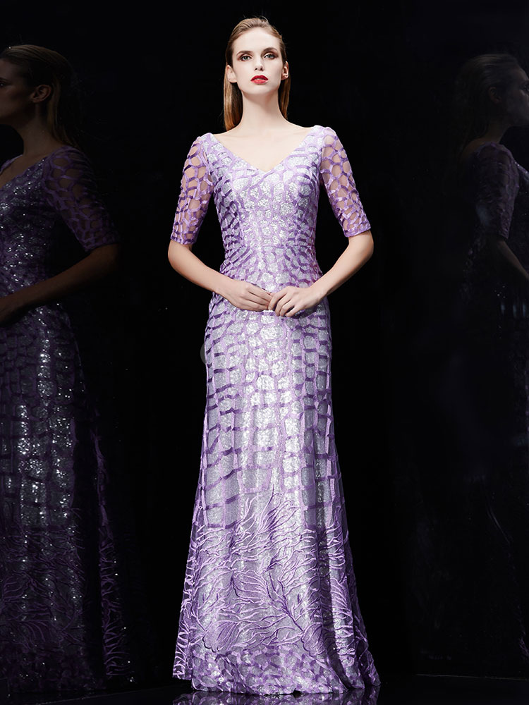 Buy Mermaid Evening Dress Sequin Embroidered Mother Of The Bride Dress Lilac V Neck Half Sleeve Floor Length Wedding Guest Dresses for $228.79 in Milanoo store