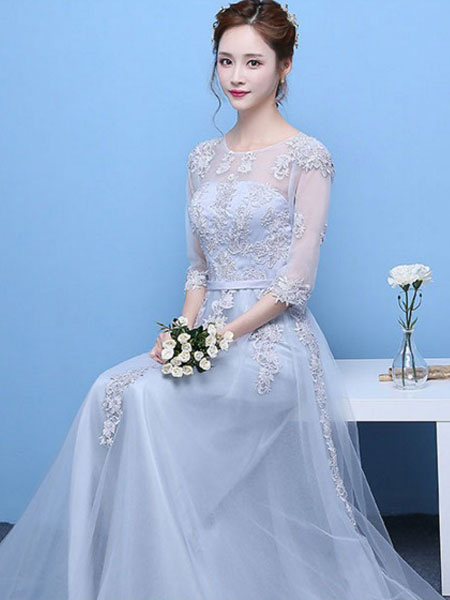 2cc37cb44a8 ... Light Grey Prom Dress Lace Applique Tulle Illusion Half Sleeve Floor  Length Party Dress-No