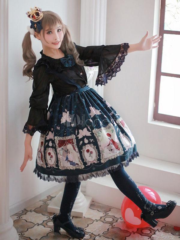 Buy Sweet Lolita Dress JSK Lace Ruffles Chiffon Lolita Jumper Skirt for $127.87 in Milanoo store