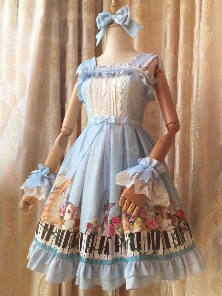 Buy Sweet Lolita Dress JSK Chiffon Light Blue Piano Keys Printed Lolita Jumper Skirt for $104.99 in Milanoo store