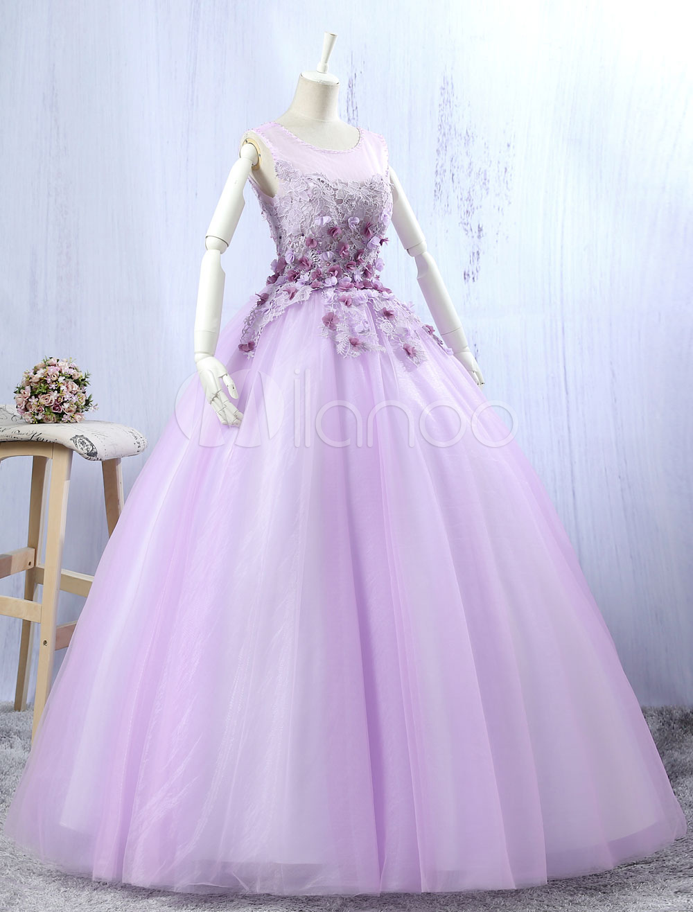 Lilac Quinceanera Dresses Tulle Ball Gown Lace 3D Flowers Beading Illusion Sleeveless Floor Length Princess Pageant Dresses