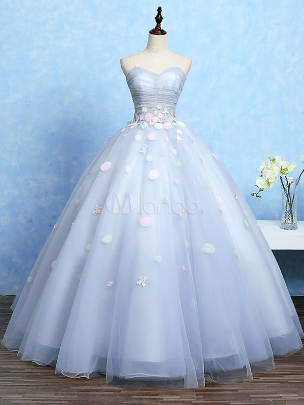 Princess Quinceanera Dresses Tulle Sweatheart Strapless Flowers Beading Ruched Waist Sleeveless Ball Gown Floor Length Pageant Dresses