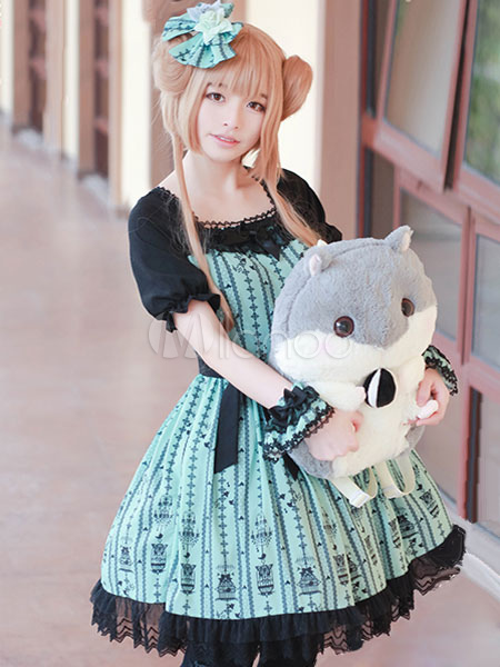 Buy Sweet Lolita Dress Cutting Pink Is Black OP Chiffon Lace Ruffles Lolita One Piece Dress for $111.99 in Milanoo store
