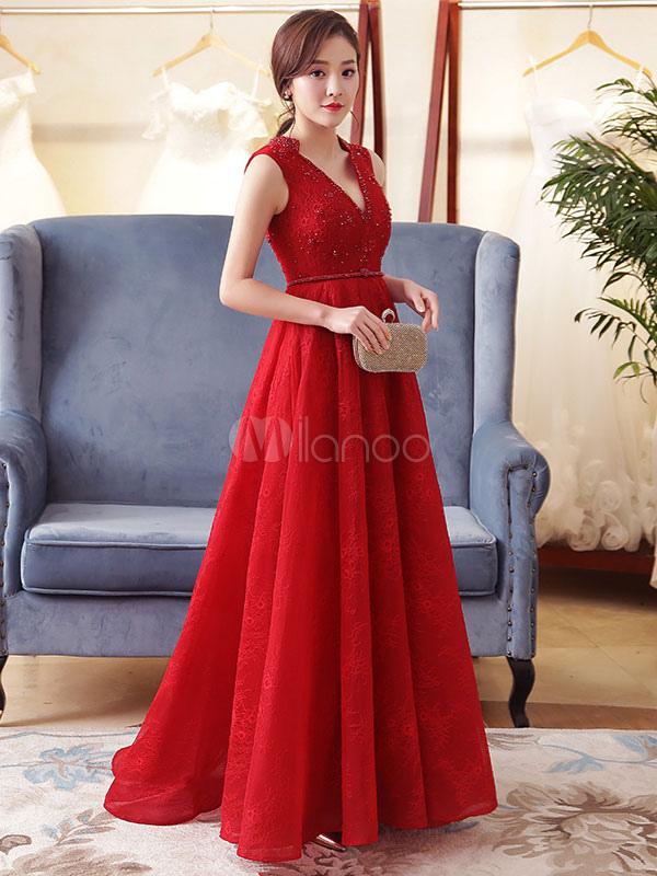 Buy Burgundy Evening Dress V Neck Lace Beading Formal Dress Sleeveless Floor Length Long Prom Dress for $158.39 in Milanoo store