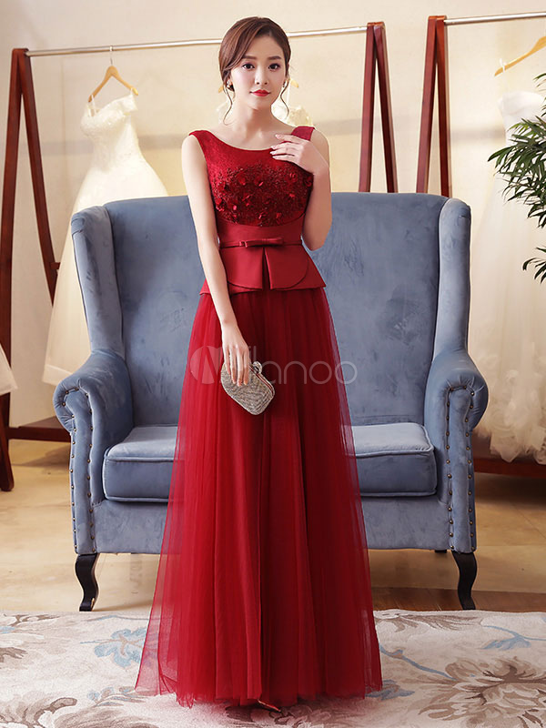 Buy Burgundy Evening Dress Peplum Tulle Lace Applique Formal Dress Sleeveless Floor Length Long Prom Dress for $140.79 in Milanoo store