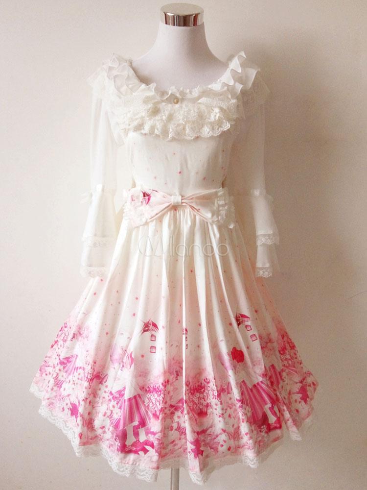 Buy Sweet Lolita Dress JSK Pink Chiffon Ribbons Lolita Jumper Skirt for $52.99 in Milanoo store