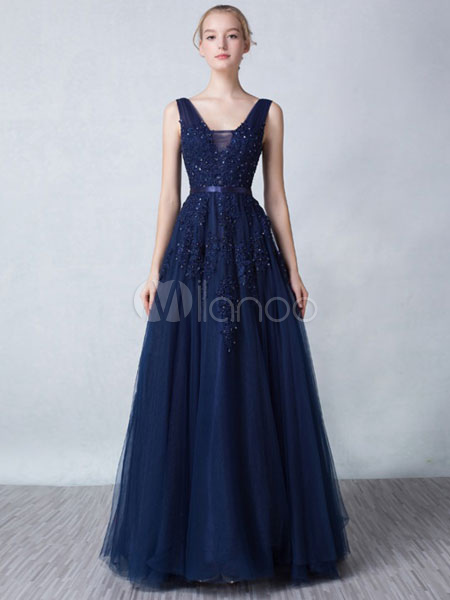 Tulle Prom Dress Lace Beading Backless Evening Dress V Neck A Line Sleeveless Formal Dress With Train