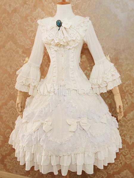 Sweet Lolita Blouse Lúthien Under Morningstar Ivory Chiffon Lace Ruffles Layered Lolita Wedding Shirt