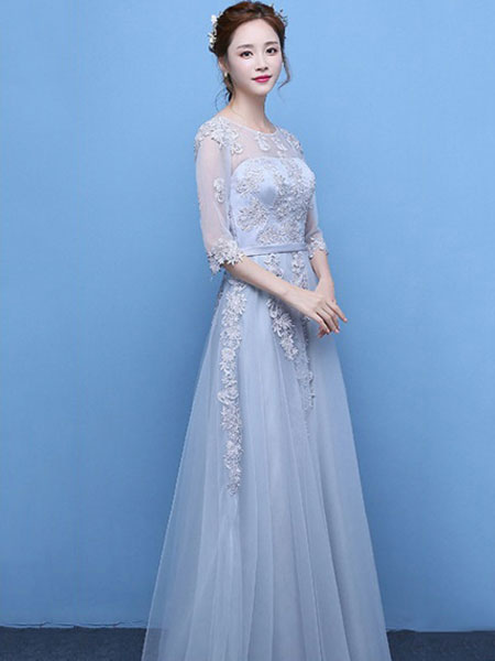 588aaaa2e43 ... Light Grey Prom Dress Lace Applique Tulle Illusion Half Sleeve Floor  Length Party Dress-No ...