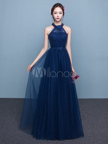 Milanoo / Blue Prom Dress 2017 Long Tulle Beading Occasion Dress Halter Sash Floor Length Party Dress