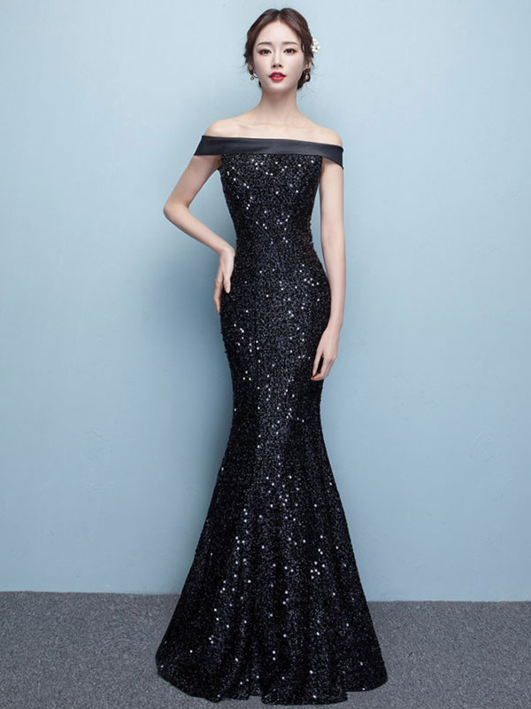 Buy Black Evening Dress Lace Sequin Bateau Mermaid Formal Dress Off The Shoulder Floor Length Occasion Dress for $131.99 in Milanoo store