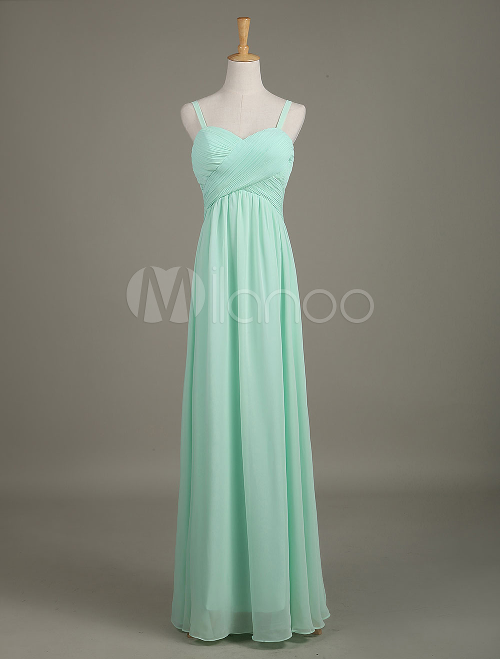 Buy Mint Green Bridesmaid Dress Sweetheart Chiffon Straps Draped A Line Long Wedding Party Dress for $153.99 in Milanoo store