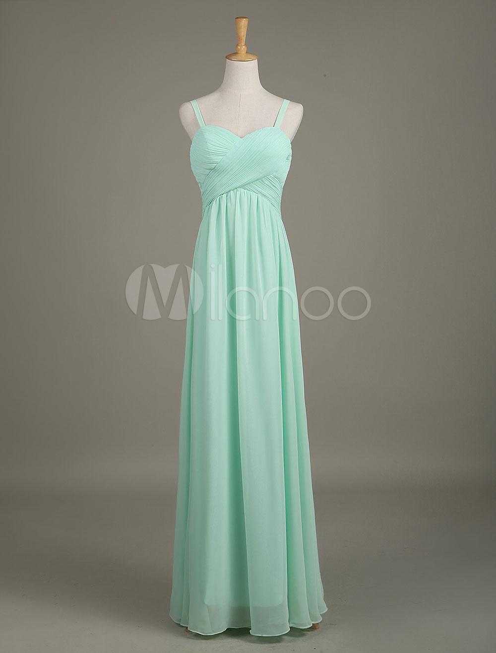 Mint Green Bridesmaid Dress Sweetheart Chiffon Straps Draped A Line Long Wedding Party Dress