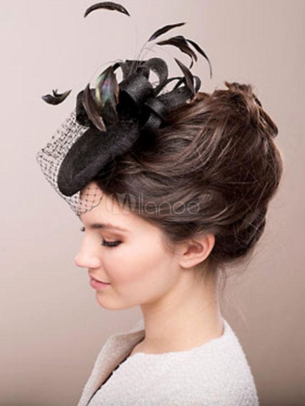 Buy Vintage Feather Fascinator Black Birdcage Net Retro Headpiece Hat Halloween for $34.03 in Milanoo store