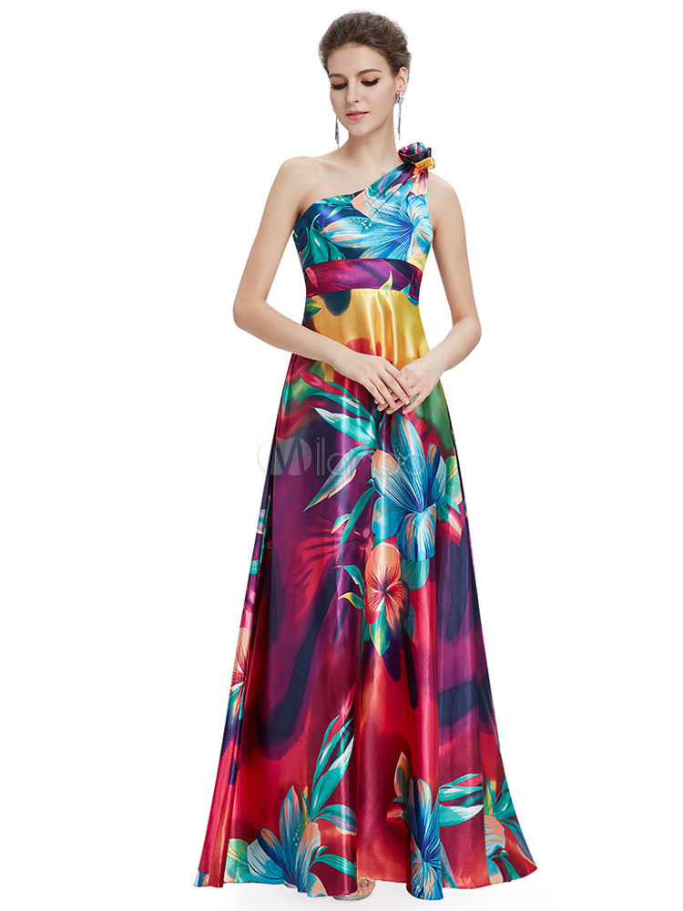 Long Prom Dresses 2018 African Print Prom Dress Floral Print One Shoulder Sleeveless A Line Floor Length Party Dress