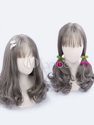 Buy Sweet Lolita Wigs Grey Curly Blunt Fringe Heat Resistant Fiber Lolita Hair Wigs for $20.99 in Milanoo store