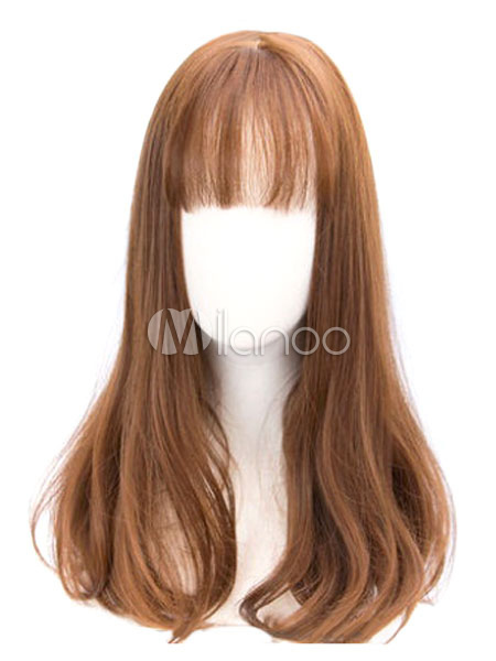 Buy Sweet Lolita Wigs Chestnut Brown Long Curly Lolita Hair Wigs With Blunt Fringe for $22.99 in Milanoo store