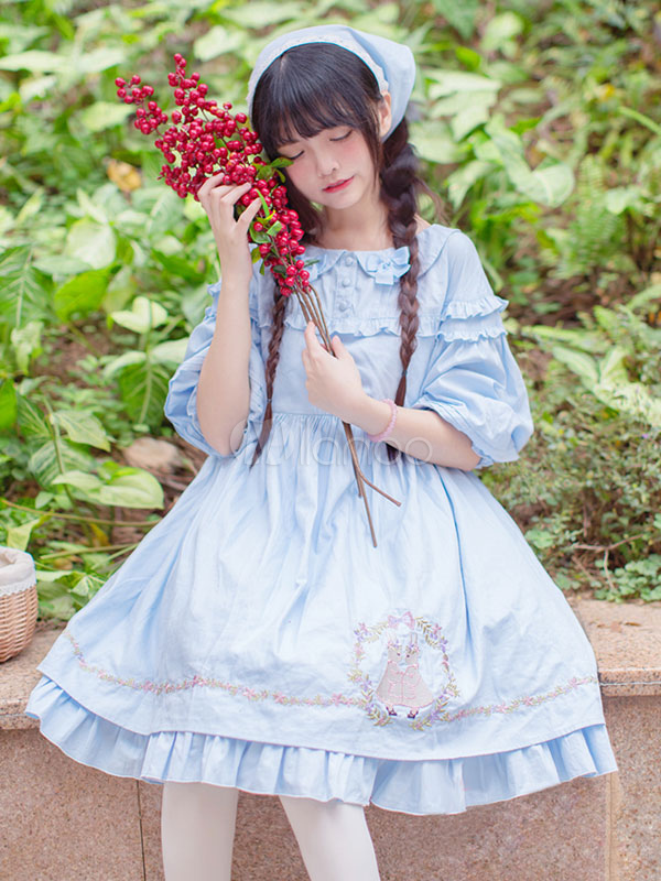 Buy Sweet Lolita Dress OP Light Blue Rabbit Printed Puff Half Sleeve Lolita One Piece Dress for $150.87 in Milanoo store