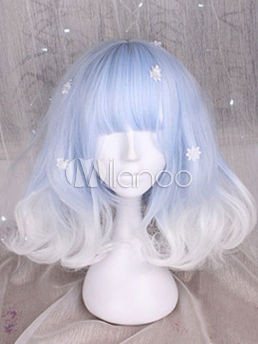 Buy Sweet Lolita Wigs Light Blue And White Short Curly Lolita Hair Wigs With Bangs for $21.59 in Milanoo store