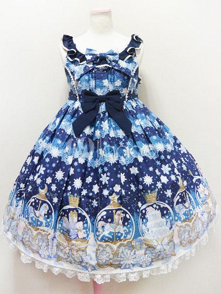 Sweet Lolita Dress JSK Deep Blue Sugar Dream Dome Printed Lolita Jumper Skirt
