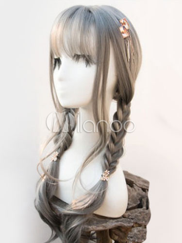 Buy Sweet Lolita Wigs Grey Long Curly Heat Resistant Fiber Lolita Hair Wigs With Bangs for $19.99 in Milanoo store