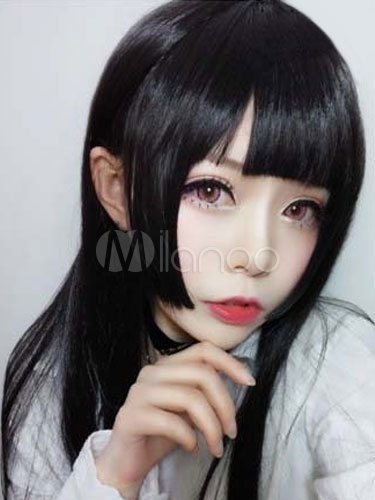 Buy Sweet Lolita Wigs Black Long Straight Lolita Hair Wigs With Blunt Fringe for $26.09 in Milanoo store