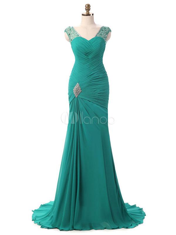 Chiffon Mother Dress Mermaid Evening Dress Turquoise V Neck Beading Ruched Keyhole Back Party Dress With Train