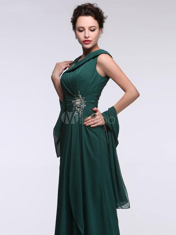 66385f40a882 ... Abito da sera in chiffon vestito verde smeraldo una cinghia di spalla  annodato strass A linea ...