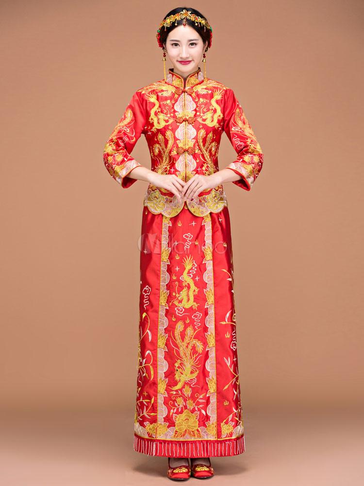 buono sconto bambino adatto a uomini/donne Cinese di Carnevale Costume 2 pezzi Phoenix Top stampato in raso da donna  con Shift gonna