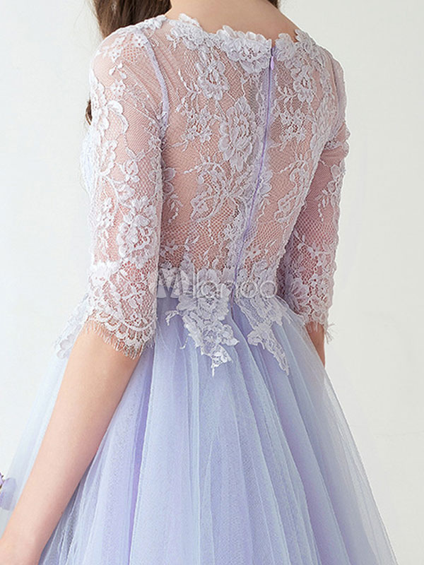 Short Prom Dress Baby Blue Cocktail Dress Tulle Lace Half
