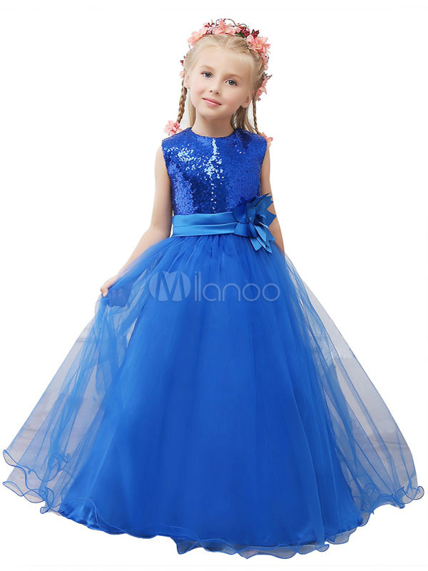 Royal Blue Toddler's Pageant Dress Sequined Princess Flower Girl Dress Tulle Flower Sash Maxi Junior Bridesmaid Dress