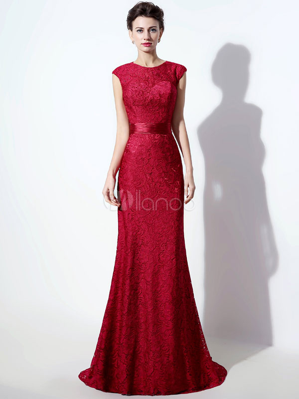 Lace Mother Dress Burgundy Mermaid Evening Dress Cutout Back Beading Sash Party Dress With Train