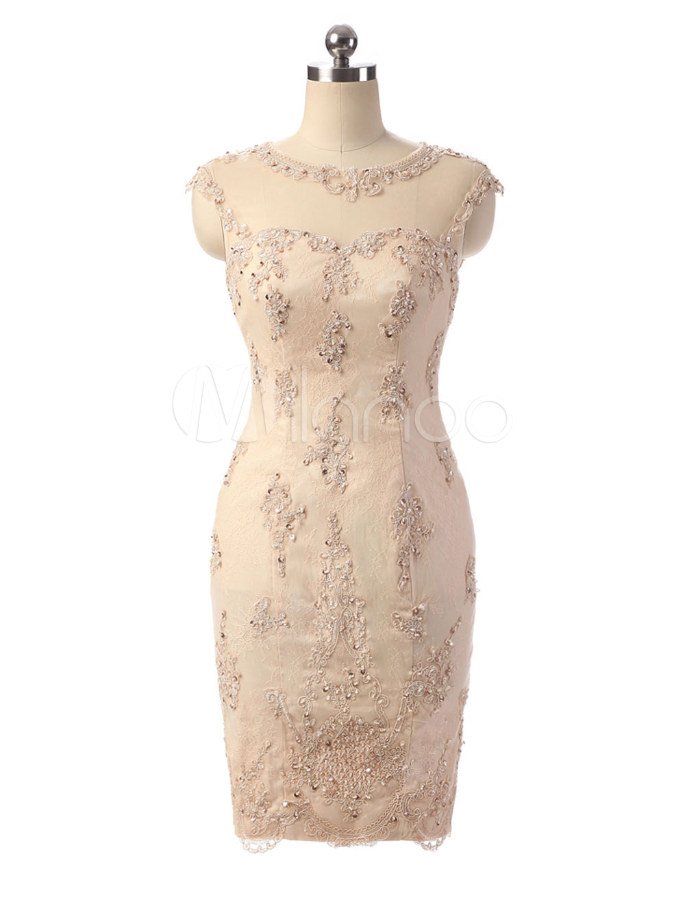 Buy Short Mother Dress Lace Sheath Cocktail Dress Champagne Illusion Sweetheart Beading Sequin Cutout Back Knee Length Party Dress for $201.59 in Milanoo store