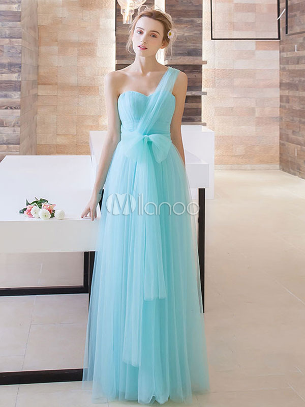 Long Prom Dress Aqua Tulle Multiway Bridesmaid Dress Sweetheart Strapless A Line Floor Length Party Dress