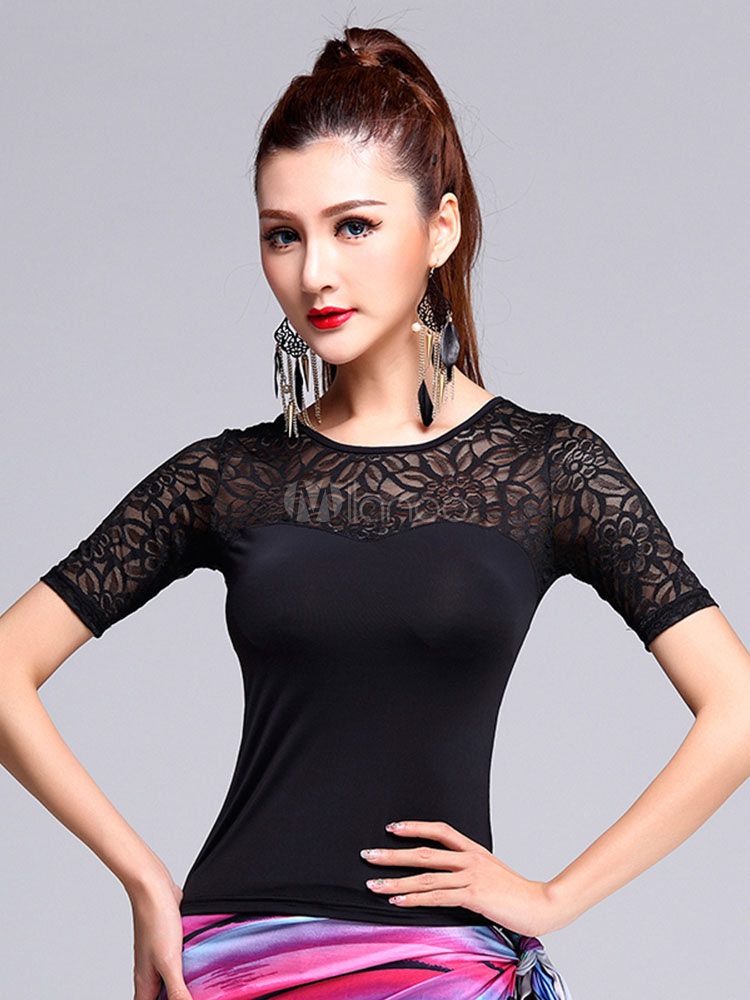 Buy Latin Dance Costume Black Illusion Short Sleeve Latin Dance Top for $28.99 in Milanoo store