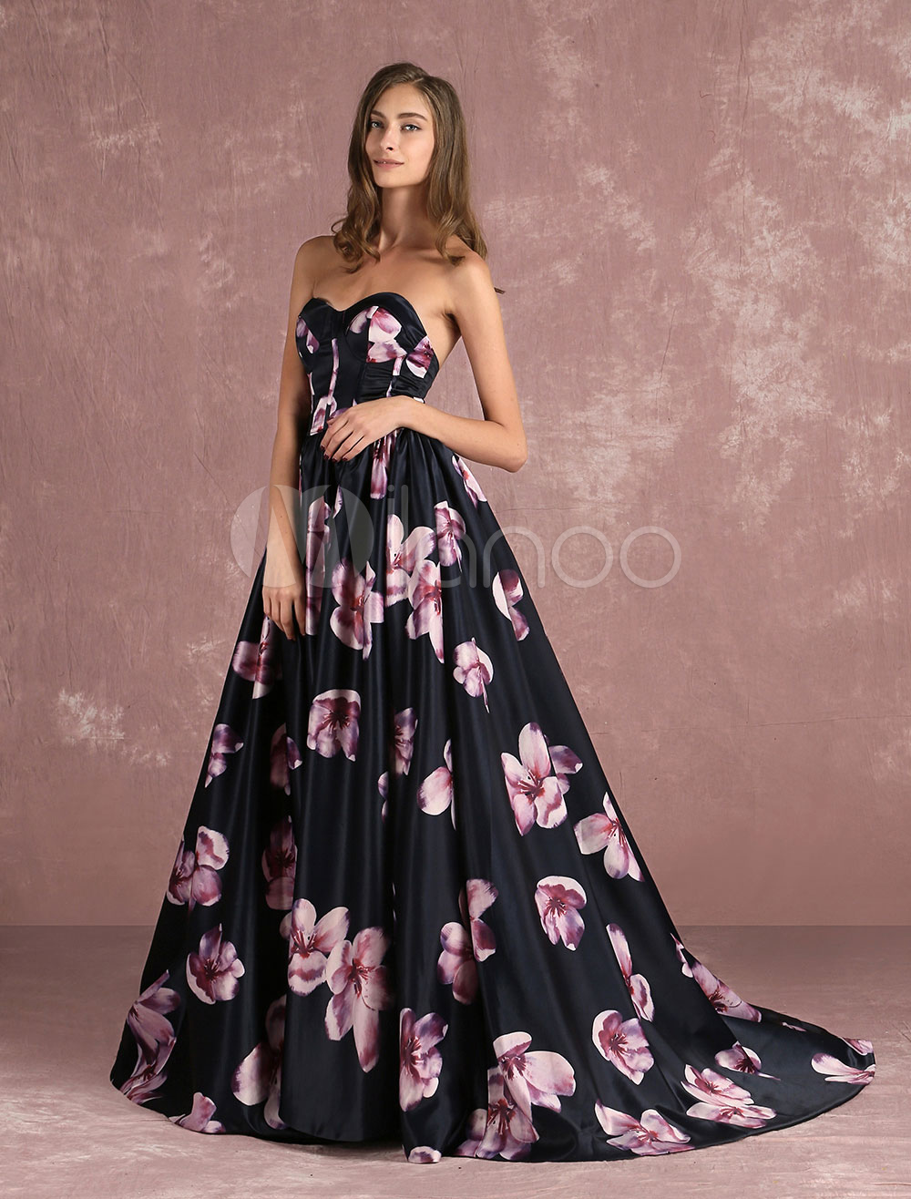 floral pageant dress black sweatheart strapless long prom. Black Bedroom Furniture Sets. Home Design Ideas